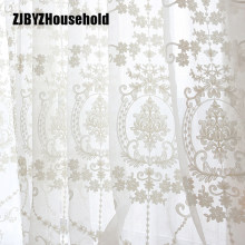 High-grade White Embroidery Flower Screens European Style Voile Tulle Sheer for Bedroom Living Room Windows Curtain Curtains(China)