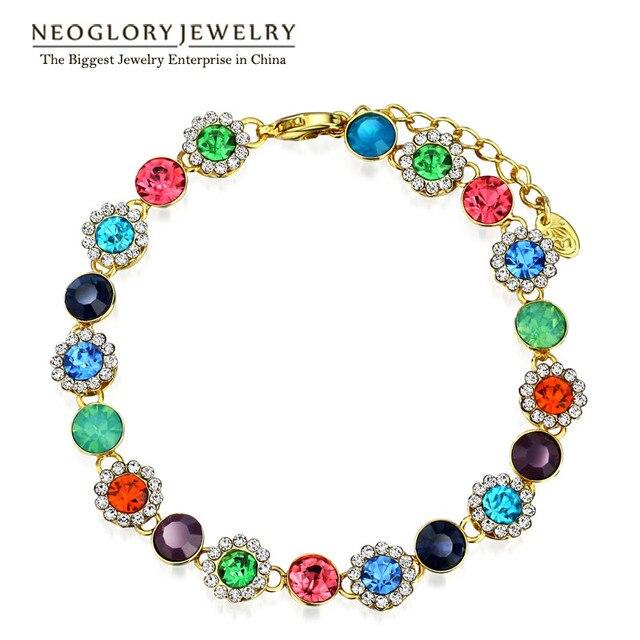 Neoglory MADE WITH SWAROVSKI ELEMENTS Crystal Rhinestone Beads Tennis Bangles Bracelets for Women Fashion Jewelry Colf Colf-b