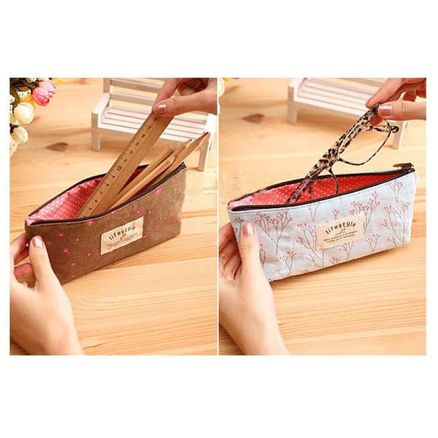 Canvas pennal Pink Skole Forsyning Bag For jente Kawaii Estojo Escolar Menina Straff Lapis