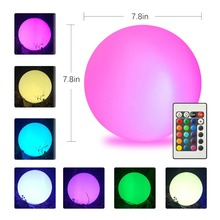 LED Outdoor Solar Lighting Ball light Waterproof RGB luminous lawn light Remote control floating ball lamp Pool yard 20 25CM #