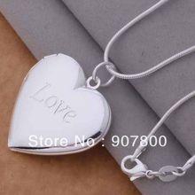 Cor de prata moldura da foto coração pingente colar moda jóias clássico dia dos namorados presente qualidade superior