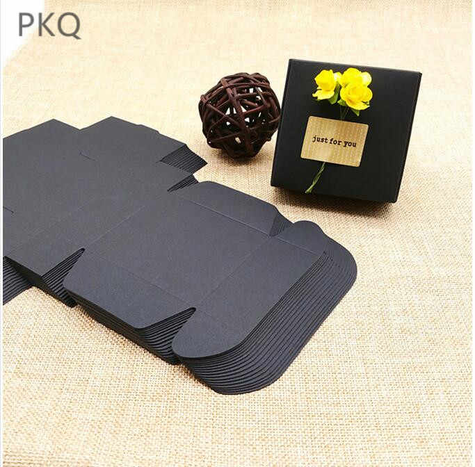 100pcs Wholesale Black Kraft Paper Gift Packaging Boxes Cardboard Pack Craft Box for Birthday Party Favors Jewelry Box Small