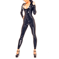 0.8MM Thickness Latex Catsuit Heavy Latex Rubber Corset Latex Bodysuit With Cortch Zip Back Laced Up