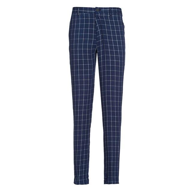 Pre Sale Dress Men Fashion Suit Pants Formal Slim Fit Trousers Spring 2016 New Gentleman Business Wedding Groom Pant Plaid