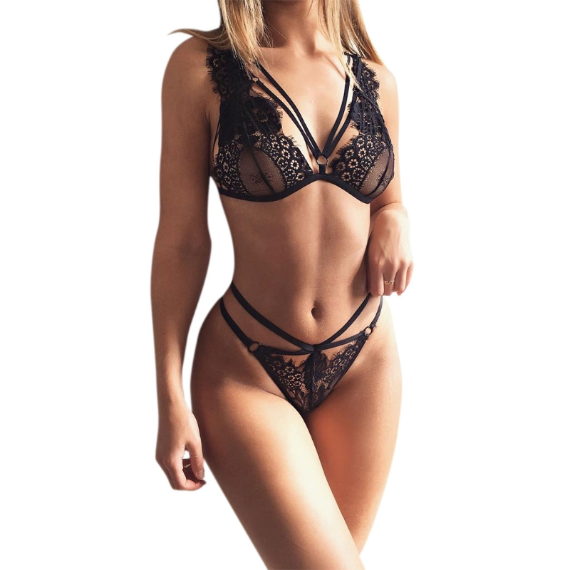 Bra & Brief Sets Back To Search Resultsunderwear & Sleepwears S72 Women Sexy Lace Triangle Bra Bandage Black Bra Set Tops Floral Briefs Underwear