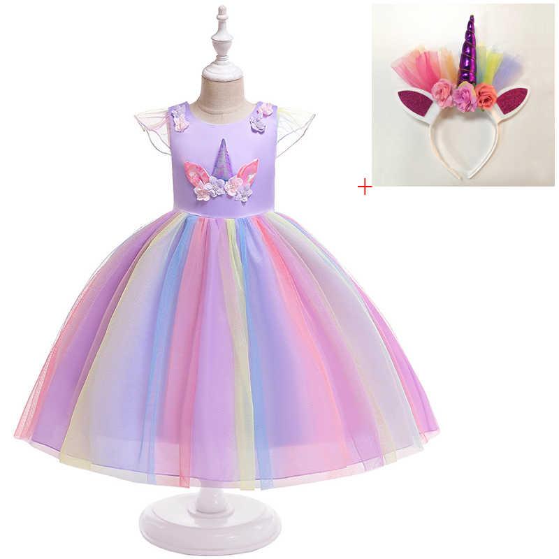 18b8ebc3e49c ... 2019 Flower Girl Unicorn Tutu Dress Pastel Rainbow Princess Girls  Birthday Party Dress Children Kids Halloween ...