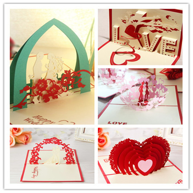New 3D Valentines Day Gifts Birthday Laser Cut Pop Up Paper Handmade Postcards Custom Greeting Cards For Lovers