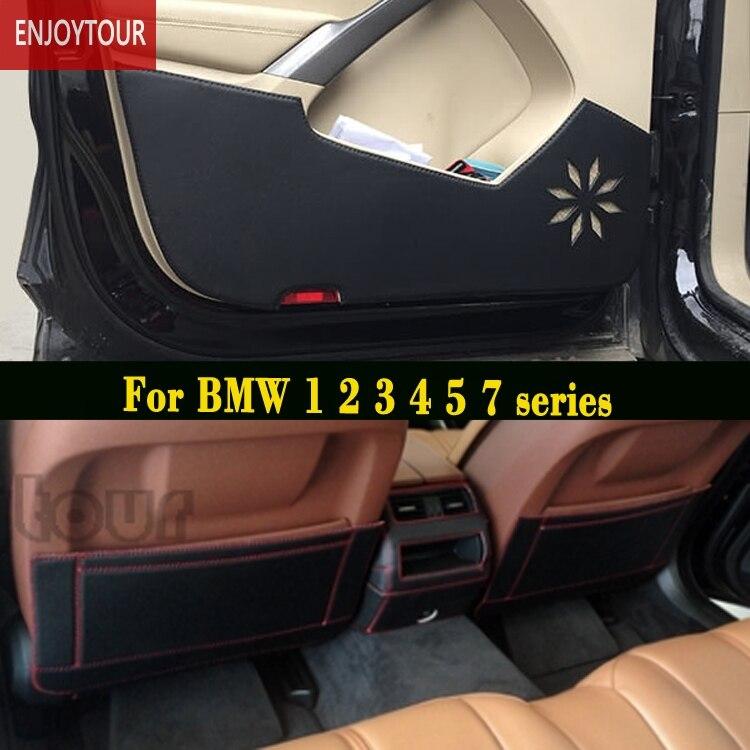 Voiture plaquettes avant arrière Siège de porte Anti-kick tapis Accessoires Pour BMW 1 série F20 2 F45 F22 3 E90 F30 4 F32 5 E60 F10 G30