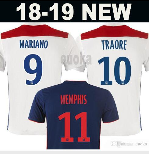 c15ede6b 2018 19 Olympique Lyonnais shirt ABILY LACAZETTE GHEZZAL MEMPHIS VALBUENA  FEKIR 2018 19 Lyon casual t-shirts