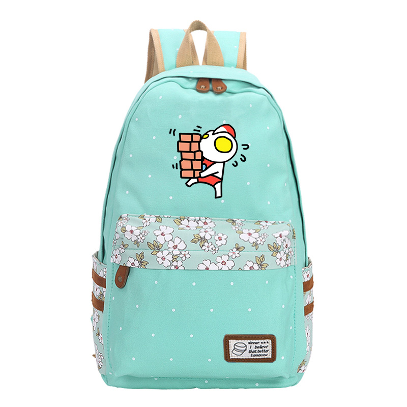 Cartoon School Backpack For Girls Canvas Design Travel Backpack For Teenager Classic Backpack Female Mint green
