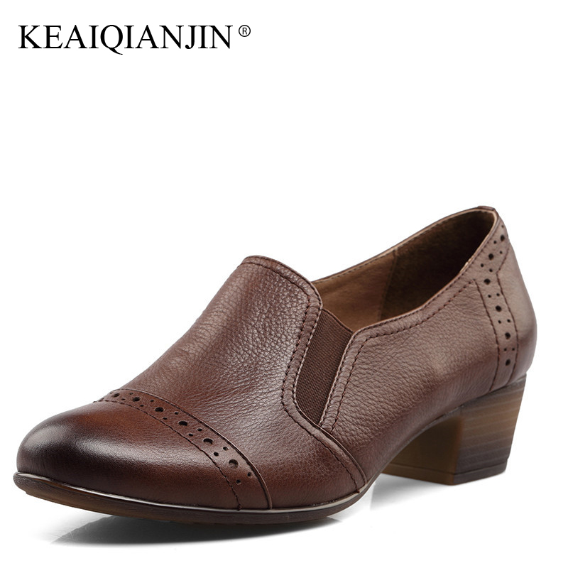 KEAIQIANJIN Woman Career Pumps Genuine Leather Black Brown High Heel Shoes Spring Autumn Oxford Dress Office Pumps 2017 keaiqianjin woman patent leather pumps plus size 33 43 high shoes spring autumn metal decoration black genuine leather pumps