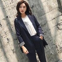 Casual 2 Pieces Set Striped Women Pant Suit One Button Notched Blazer & Elastic Waist Pencil Pant 2018 OL Style Female Suits