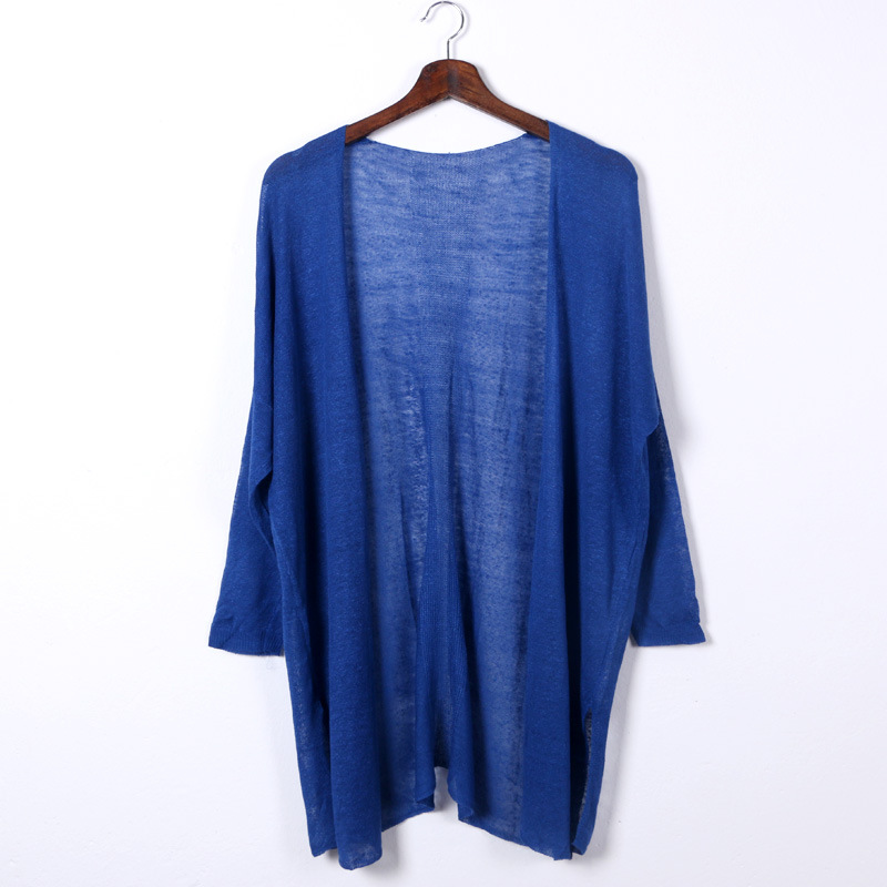 Shuchan Linen Cardigan Women Summer 2019 V-neck Solid Thin Long Sleeve Loose Sweater Women Long Women