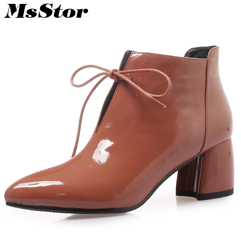 MsStor Pointed Toe High Heel Women Boots Shoes Fashion Lace Up Sexy Ankle Boots Women Winter Shoes Square heel Short Plush Boots women sexy high heel ankle boots with lock lace up patent leather boots autumn short boots wedding shoes women botas size 36 46