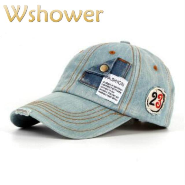 which in shower pocket vintage denim baseball cap women men adjustable distress  jean snapback hat curved male female sun bone b7915263af9e