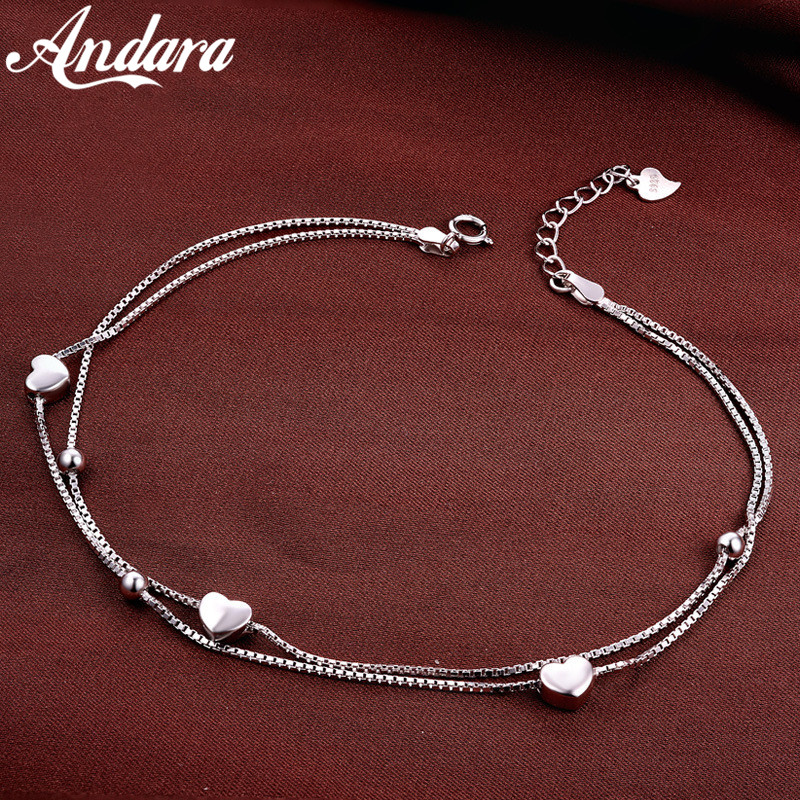 Solid Silver 100% 925 Sterling Silver Anklet Women's Double Love Anklets Luxury Jewelry