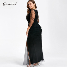 Plus Size Ruched Sheer Formal High Quality Women Elegant V-Neck Party Plus Size 3/4 Sleeves Long Maxi Dresses