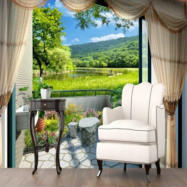 beibehang 3d tapete wandbild balkon im freien fenster gr ne gras mode einfache stil schlafzimmer. Black Bedroom Furniture Sets. Home Design Ideas