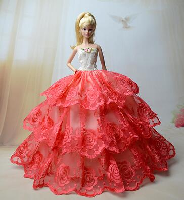 fashion beautiful case for barbie clothes lot doll original wedding dress princess dresses set accessories for Girl toy gift