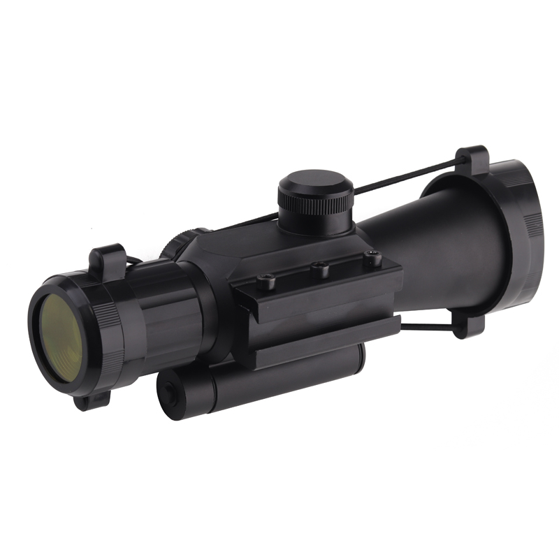 M7 4X30 Rifle Scope Red Green Mil Dot Reticle with Side Attached Red laser Sight Mount Tactical Optics Scopes Riflescope in Riflescopes from Sports Entertainment
