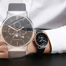 ECONOMICXI Fashion Brand Mens Watch Quartz Casual Business Male Clock Leather Strap WristWatch Gift Relogio Masculino