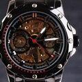 2016 GANADOR Hombres Mecánicos Automáticos Relojes Superior Remaches Caso Skeleton Dial Completa de Acero Inoxidable de Titanio Hombres relojes de Pulsera de Regalo