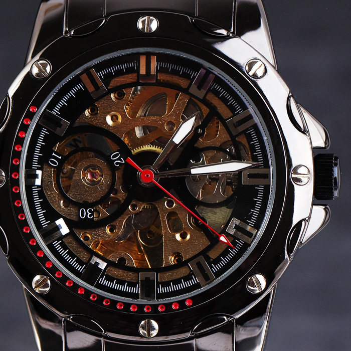 2016 Top WINNER Automatic Mechanical Men Watches Rivets Stainless Case Skeleton Dial Full Steel Titanium Male Gift Wristwatches viking 2 pc f102