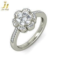Jinhui Unisex The Amber Ring Solid 18K White 750 Gold 0.643CT Natural Diamond Jewelry Free Engraving