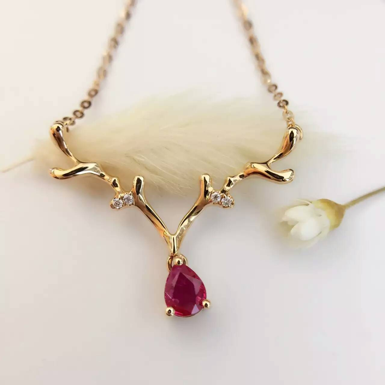 0 245ct 0 017ct 18K Gold Natural Ruby and Pendant font b Necklace b font font