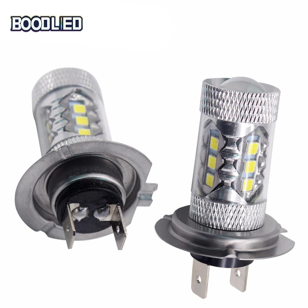 BOODLIED 2pcs H7 LED Headlight 80W 3030 SMD LED White High Power H7 Light Bulbs For Car LED Headlight Auto Fog Lights DC 12V