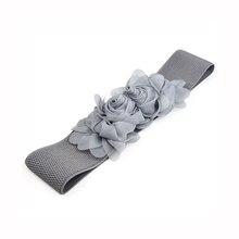 NEW Grey Womens Double Chiffon Flower Buckle Elastic Waist Belt Lady Waistband