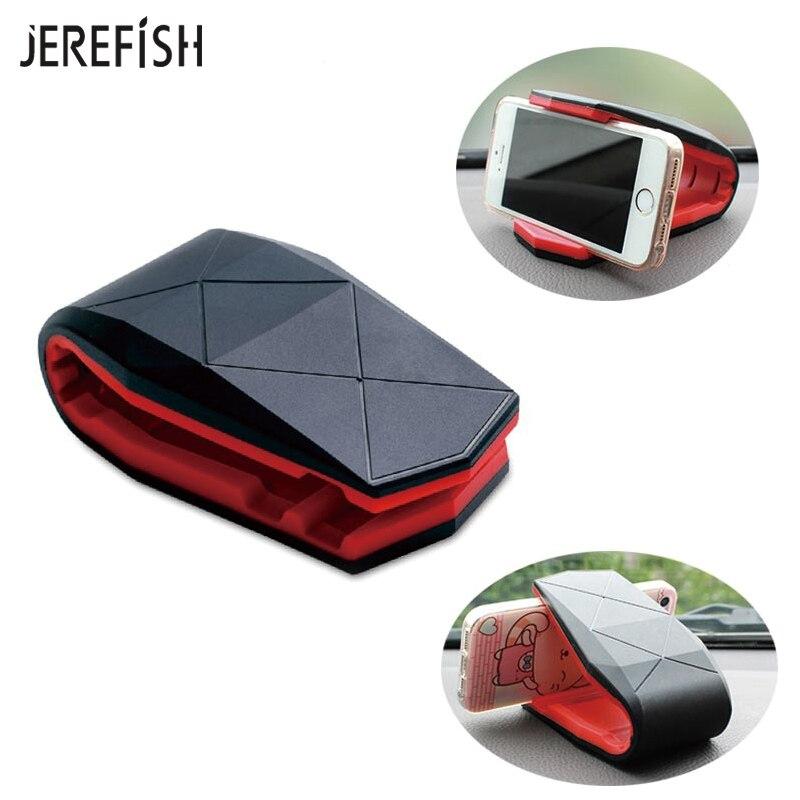 JEREFISH Car Phone Holder Stand Adjustable Alligator Clip Vehicle-mounted Mobile Scaffold Holder Cradle