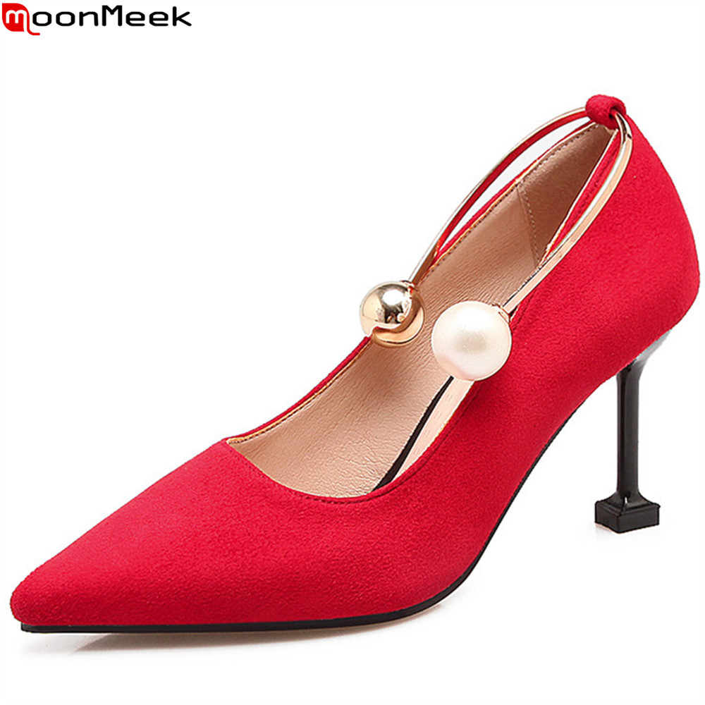 MoonMeek black red fashion spring autumn new women pumps pointed toe ladies shoes shallow elegant high heels shoes plus size new 2016 spring autumn summer fashion casual flat with shoes breathable pointed toe solid high quality shoes plus size 36 40
