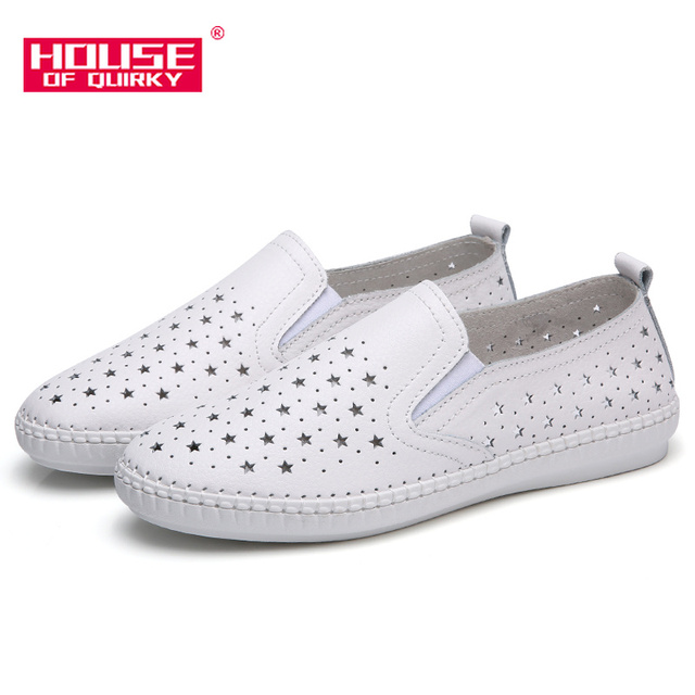 New Women Flats Shoes Ballet Flat Sneakers Genuine Leather Slip on  Moccasins Ladies Boat White Ballerina Espadrilles Creepers b861b127e353