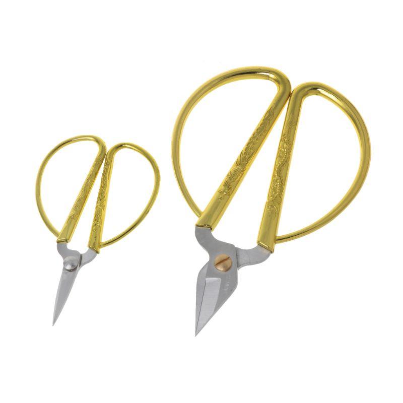 Hot Gold Dragon Phoenix Bonsai Scissors Wedding Shears Home Office Cutting Tool