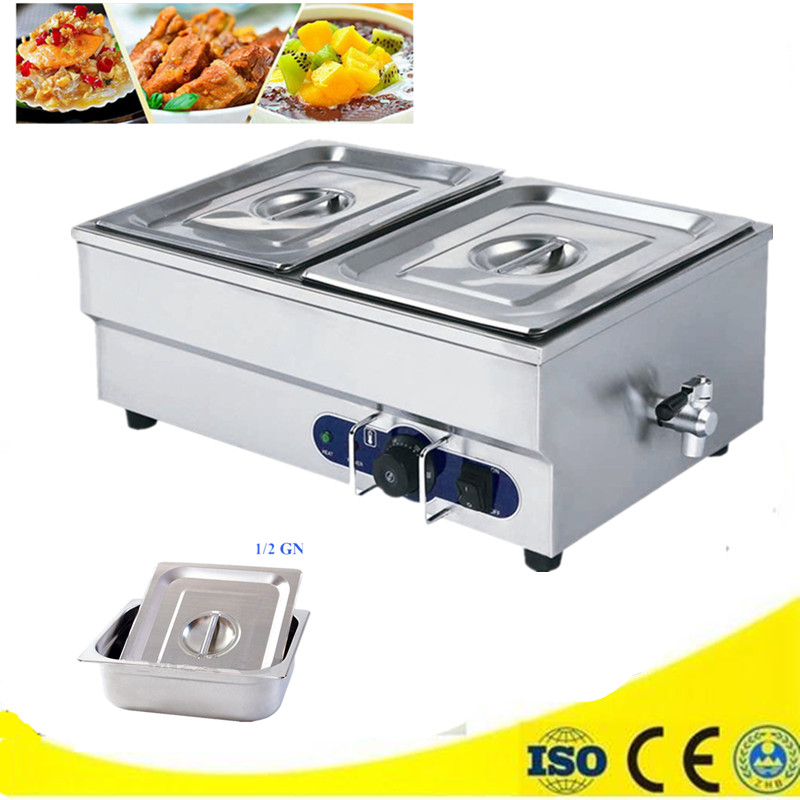 Food Warmer Machine for commercial electric countertop mini 2 tank buffet tool Bain Marie kitchen appliance