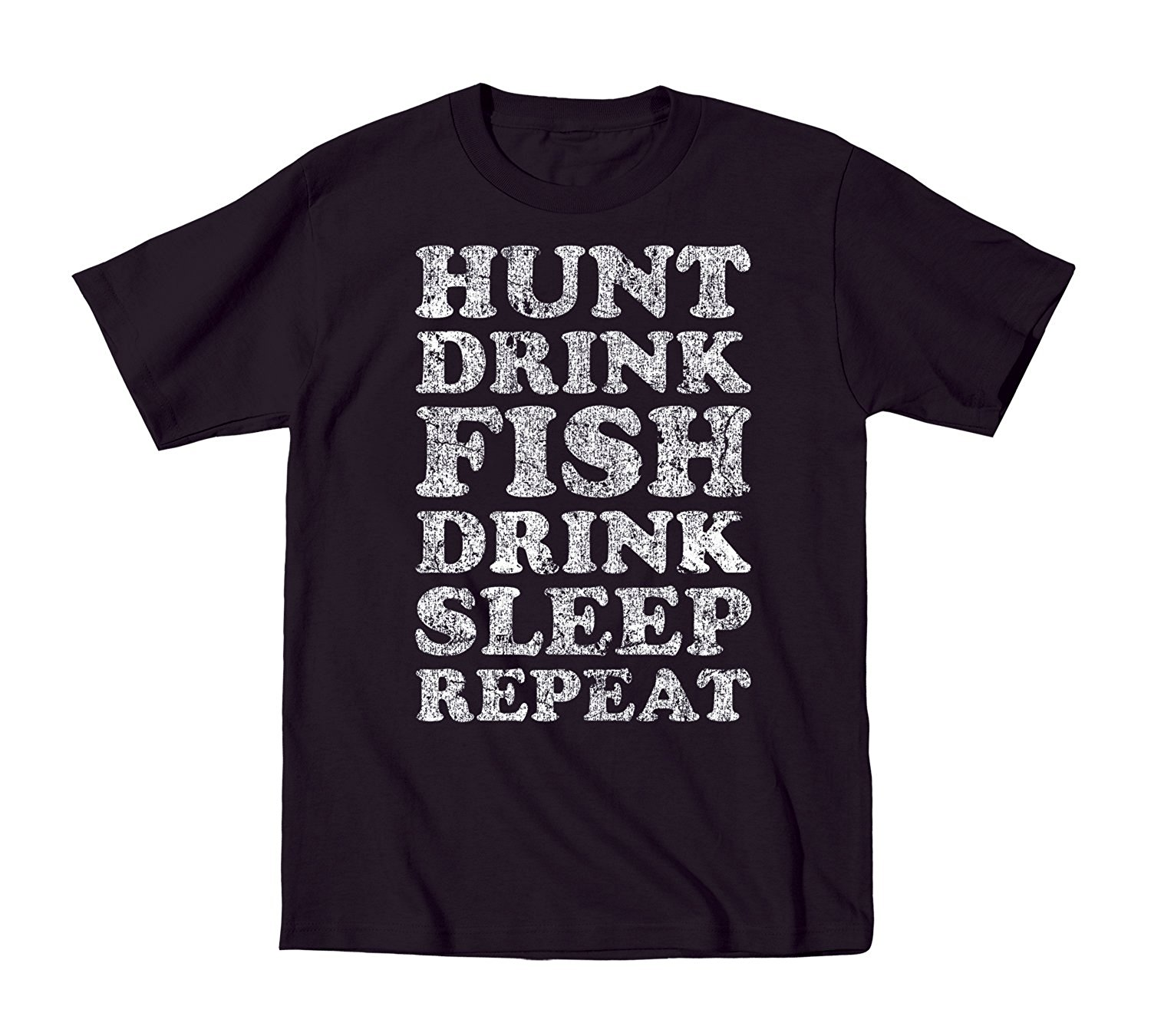 Hunt Fisher Drink Repeat Vintage Sporter- Mens T-Shirt 2018 New MenS T Shirt Tees Brand Clothing Funny T-Shirt Top Tee