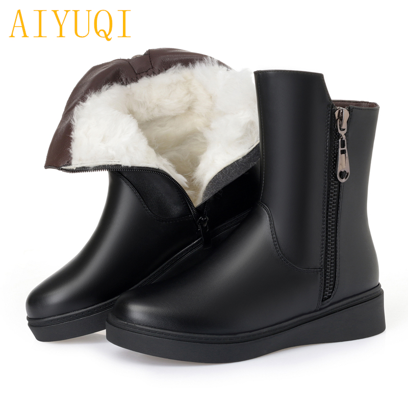 AIYUQI Female snow boots winter 2018 new genuine leather female motorcycle boots warm wool, large size 41 42 43 women shoes aiyuqi 2018 spring new genuine leather women shoes shallow mouth casual shoes plus size 41 42 43 mother shoes female page 1