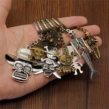 New Vintage Skull Keychain Pirate Key Car Bag Charm Keyring Handmade DIY Accessories Gift For Men