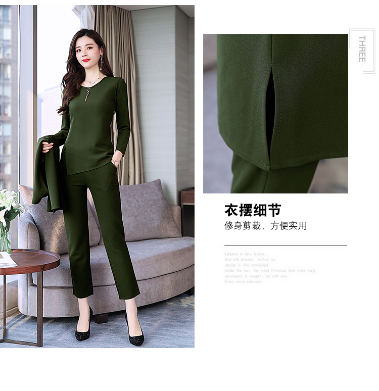 Spring Autumn 3 Piece Set Women Long Coat T-shirt And Pants Sets Casual Elegant Three Piece Sets Suits Women's Costumes 54