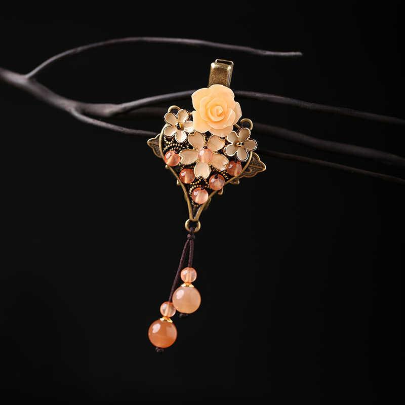 265e1853d46e ... Волосы Когти натуральный камень украшения для волос металлический зажим  для волос для Для женщин девочек Винтаж ...