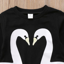 Kids Baby Girls Swan Animal O-Neck Hoodies Clothes