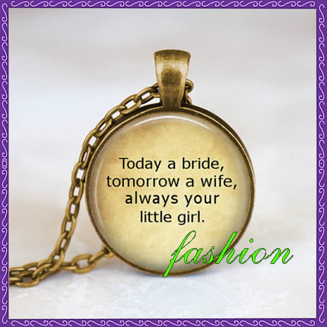 Father Of The Bride Wedding Necklace Wedding Quote Father Necklace