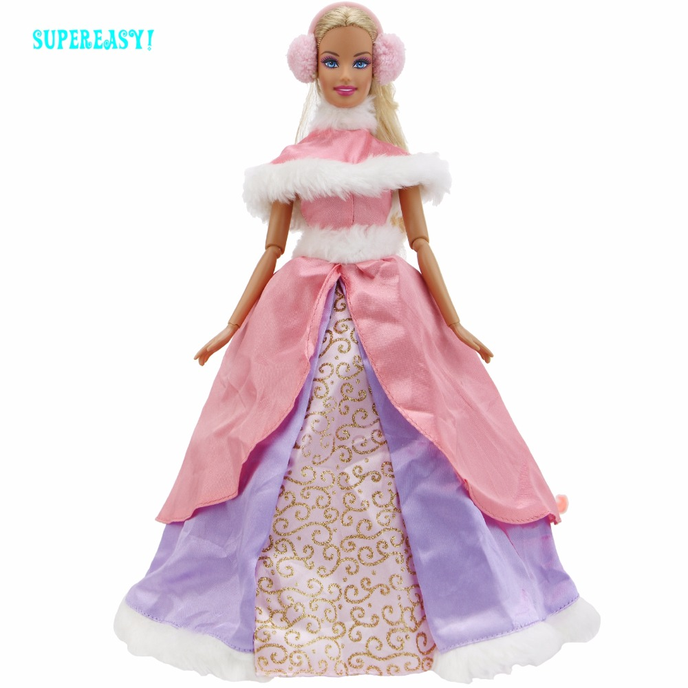 Limited Collection Outfit High Quality Dress Wedding Party Gown Winter Costume Pink Skirt Earcap Clothes For Barbie Doll Toys high quality wedding dress doll 45cm 55cm beautiful elegant pink feather dhl or fedex
