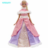 Limited Collection Outfit High Quality Dress Wedding Party Gown Winter Costume Pink Skirt Earcap Clothes For Barbie Doll Toys