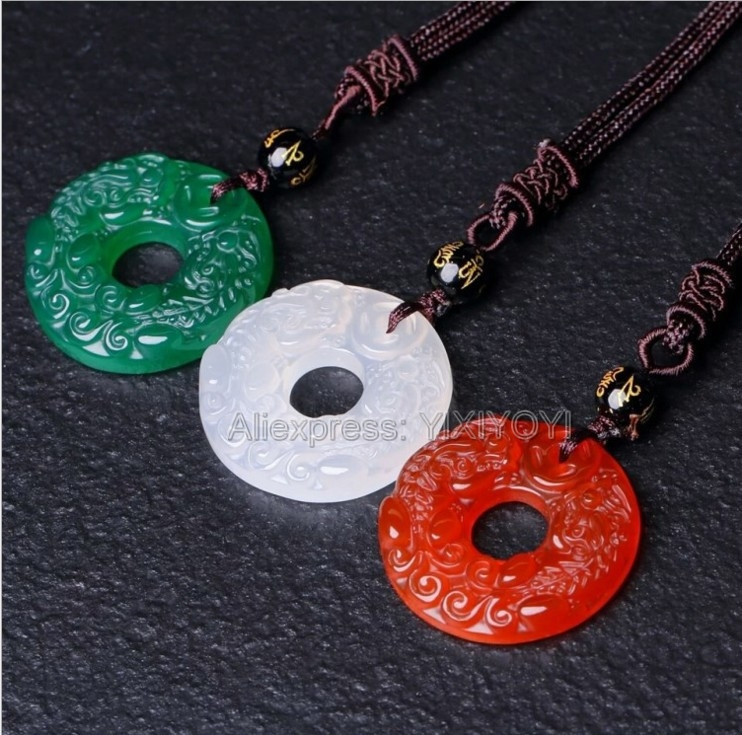 Beautiful Chinese Natural Green Red White Agate Jade Carved Double PiXiu Buckle Lucky Pendant + Rope Necklace Fine JewelryBeautiful Chinese Natural Green Red White Agate Jade Carved Double PiXiu Buckle Lucky Pendant + Rope Necklace Fine Jewelry