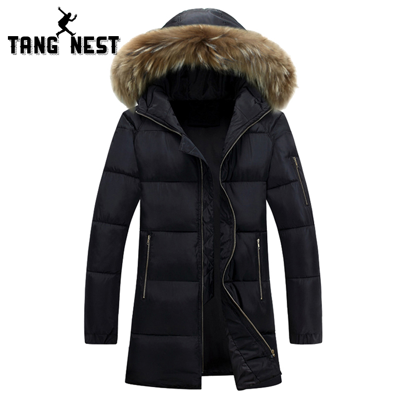 ФОТО TANGNEST Mid-length 2017  Fur Hooded Warm Slim Fit Casual Parka Winter Thick Male HIgh Quality Asian Size Coat MWM1426