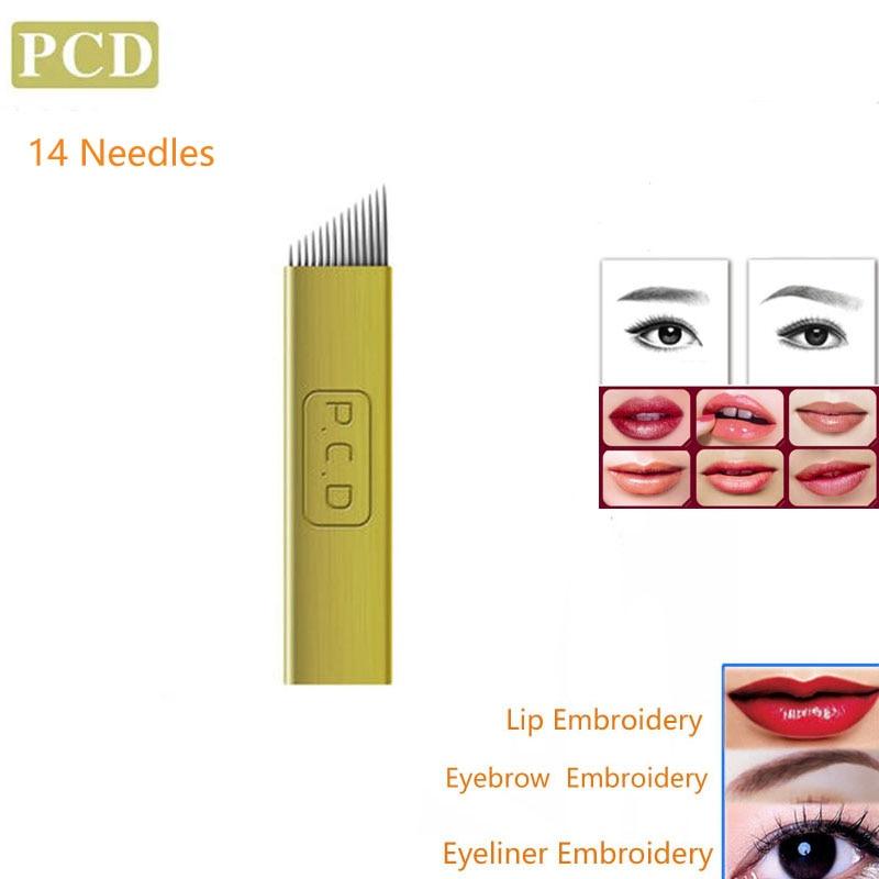 Tattoo Nadeln Makeup PCD Klingen 100 STÜCKE 14Pin Augenbraue Eyeline Lip Permanent Make-Up Microblading 3D Stickerei Tattoo Zubehör