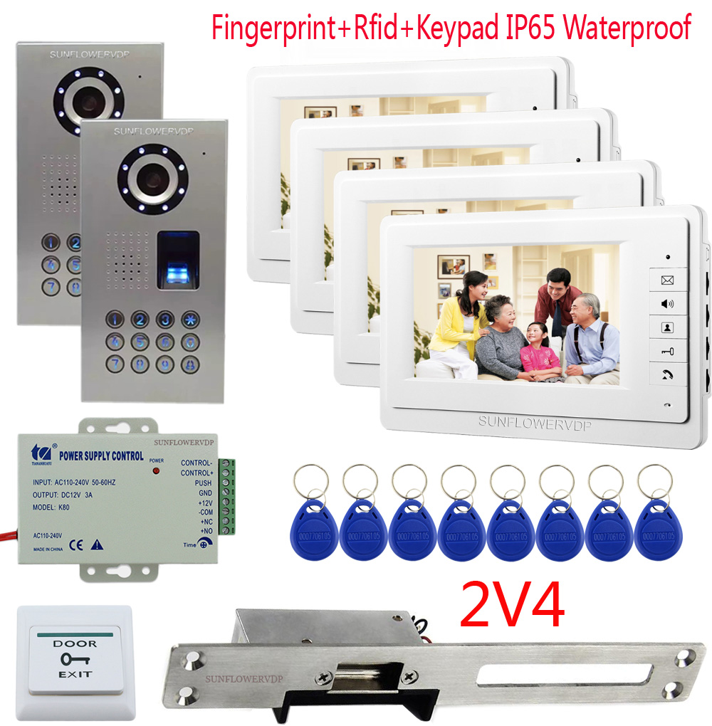 Fingerprint Rfid Keypad Intercom Video Intercoms 4 Rooms 7 Color Monitor Doorphone Two Cameras + Electric Strike Door Lock 2v4