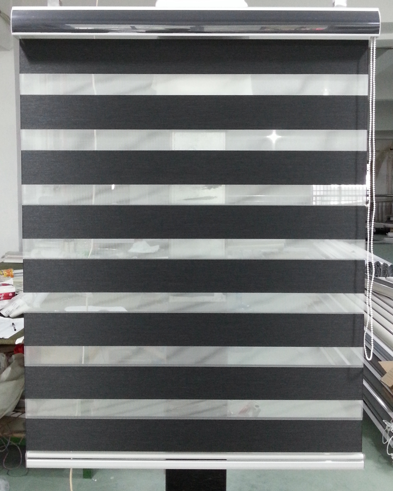 Custom Made 100 Polyester Blackout Roller Zebra Blinds In Black Window Curtains For Living Room